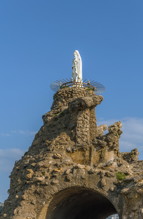Statue of the Virgin Mary on rocj in Biarritz, France Stock Photo
