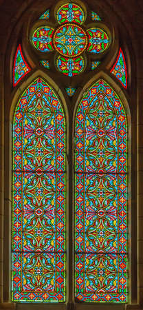 Stained-glass window in church of Saint Eugenie, Biarritz, France Editorial
