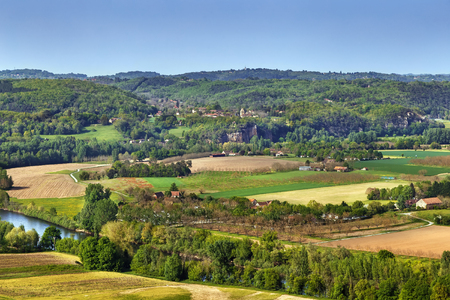 View of valley of Dordogne river from Domme rock, France Stockfoto