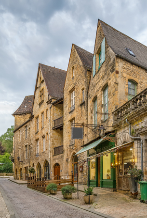 Street in Sarlat-la-Caneda historical center, department of Dordogne, France Editorial