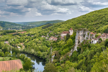 Landscape with Valley of Lot river and Saint-Cirq-Lapopie village, France