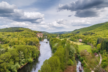 Landscape with Valley of Lot river, France Stockfoto