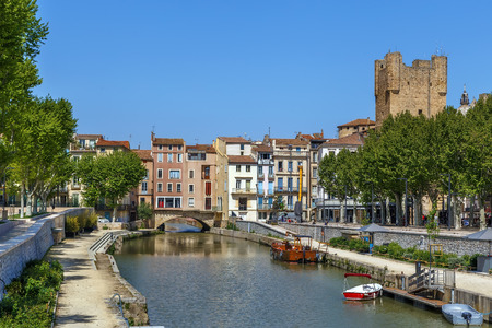 View of Canal de la Robine in Narbonne, France Stockfoto