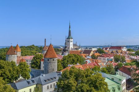 View of Walls of Tallinn and St. Olaf Church from Toompea hill, Estonia