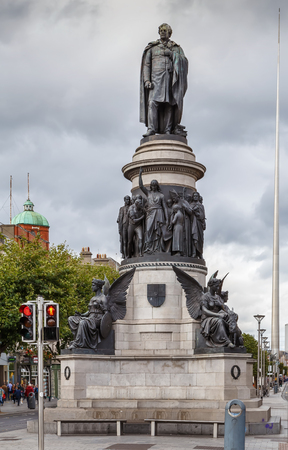 The memorial to Daniel O'Connell, the 19th century nationalist leader, Dublin Ireland Stock Photo