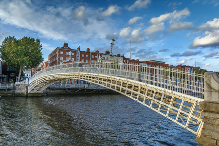 Ha'penny Bridge and officially the Liffey Bridge, is a pedestrian bridge built in May 1816 over the River Liffey in Dublin, Ireland Stock Photo