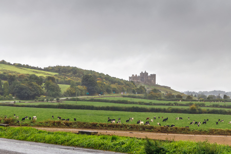 View of Rock of Cashel from highway, Ireland 版權商用圖片