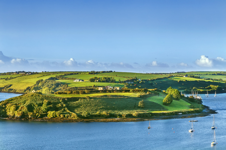 View of green hill from Charles Fort, Kinsale, Ireland Stockfoto - 123290048