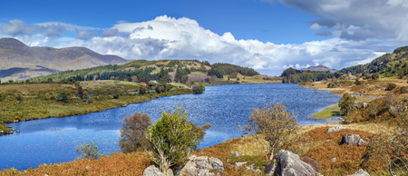 Panoramic view of Lough Looscaunagh lake, County Kerry, Ireland