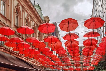 Many Red umbrellas on street in Belgrade, Serbia 版權商用圖片