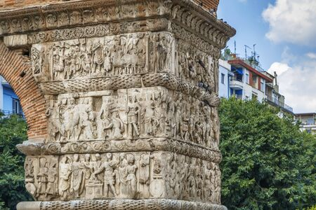 The Arch of Galerius was built in 298 to 299 AD, Thessaloniki, Greece. Reliefs