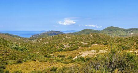 Mountain landscape at the southern tip of Sithonia peninsula, Chalkidiki, Greece Stock Photo