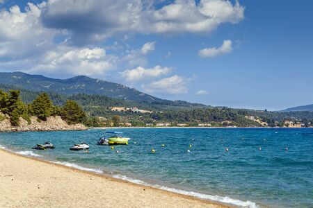 View of Lagomandra Beach on Sithonian peninsula, Chalkidiki, Greece Stock Photo