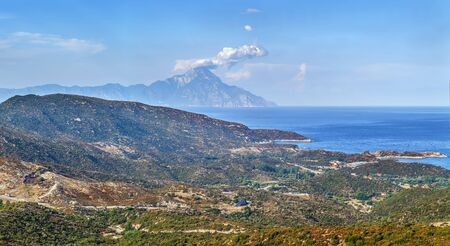 Landscape of the southern tip of Sithonia peninsula with Mount Athos, Chalkidiki, Greece
