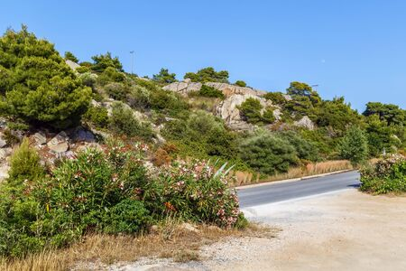 Landscape with hill on Sithonia peninsula, Chalkidiki, Greece Stock Photo