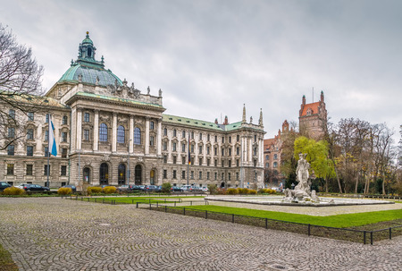 Building of Bavarian Ministry of Justice in Munich (Justizpalast), Germany. View from Garden Éditoriale