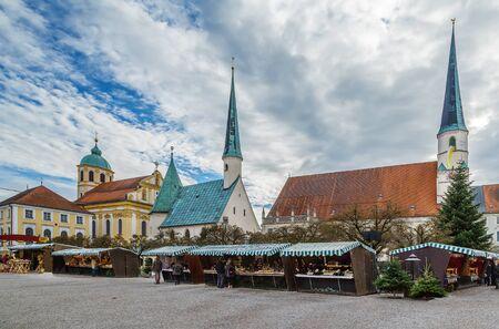 Main square with Christmas market, Altotting, Germany Фото со стока