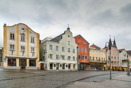 Main market square with historical houses in Eichstatt, Germany