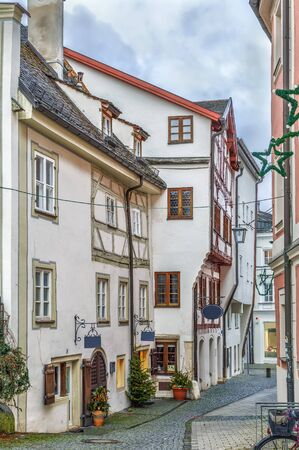 Street with historical houses in Eichstatt downtown, Germany