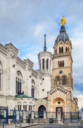 Basilica of Notre-Dame de Fourviere is a minor basilica in Lyon, France. Bell tower
