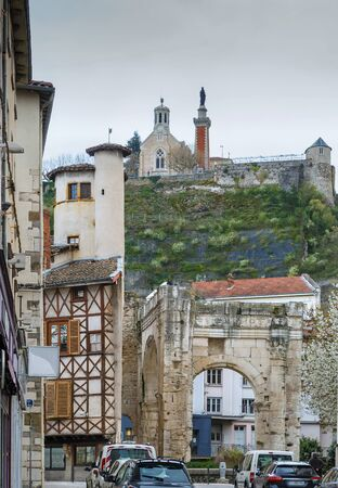 View of Archaeological Garden of Cybele and  View of Chapel of Notre-Dame de Pipet on the hill, Vienne, France Stock fotó