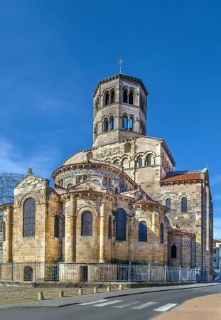 Former Benedictine abbey church was build in 1130 in Issoire, Basse-Auvergne, France