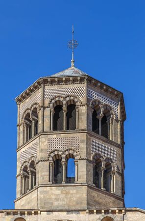 Former Benedictine abbey church was build in 1130 in Issoire, Basse-Auvergne, France.Tower Stock fotó