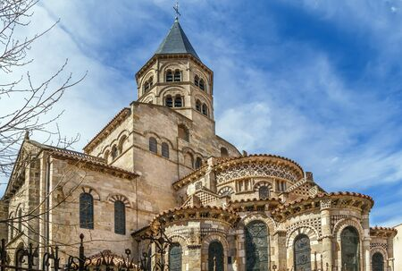 Basilica of Notre-Dame du Port is a Romanesque basilica, formerly a collegiate church in Clermont-Ferrand, France. View from apse