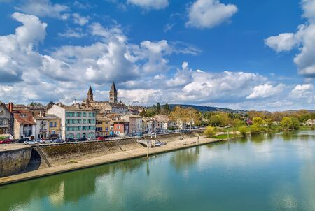 View of Tournus with abbey fron Saone river, France
