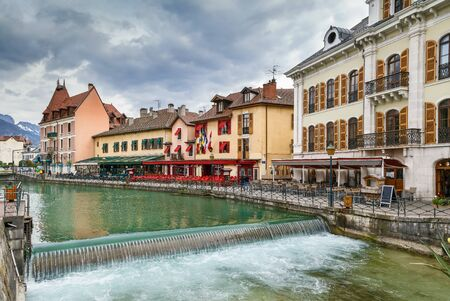 Historic houses along the Thiou river in Annecy old town, France