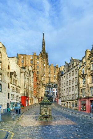 Street with historical houses in Edinburgh old town, Scotland Stock Photo