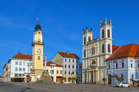 St. Francis Xavier Cathedral and clock tower on Slovak National Uprising Square in Banska Bystrica, Slovakia