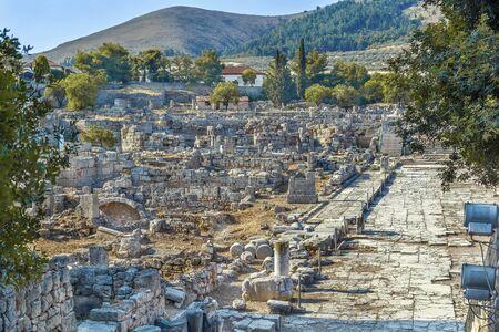 Vue des ruines de l'ancienne Corinthe, Grèce Banque d'images