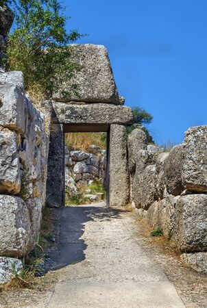 Gate in Mycenae is an archaeological site in Greece Stock fotó