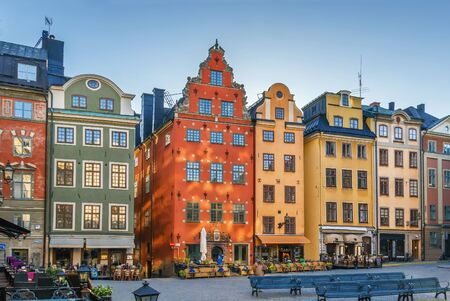 Stortorget is a small public square in Gamla Stan, the old town in central Stockholm, Sweden Stok Fotoğraf - 148183301