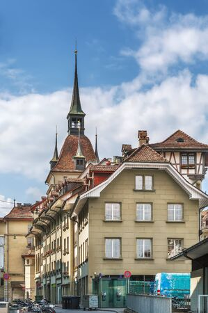 Street with historic houses in Bern city center, Switzerland