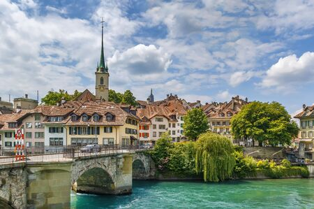 View of Bern old town and bridge over the Aare river, Switzerland