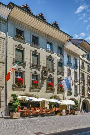 Street with historic houses in Bern downtown, Switzerland