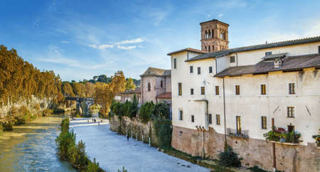Panoramic view of Tiber river with Castello Caetani, Rome, Italy