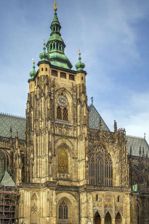 Metropolitan Cathedral of Saints Vitus is a Roman Catholic metropolitan cathedral in Prague, Czech republic. The main tower and the Golden Gate.