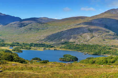 Landscape from Ladies View is a scenic viewpoint on the Ring of Kerry tourist route. Ireland