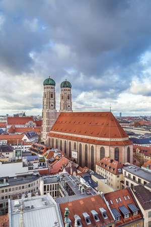Frauenkirche (Cathedral of Our Dear Lady) is a church in Munich, Bavaria, Germany. Aerial view from New Town Hall tower