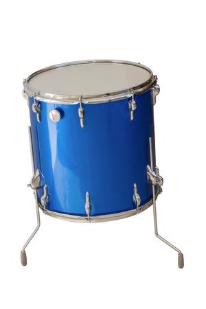 bateria musical: piso Tom-Tom tambor de color azul sobre fondo blanco Foto de archivo