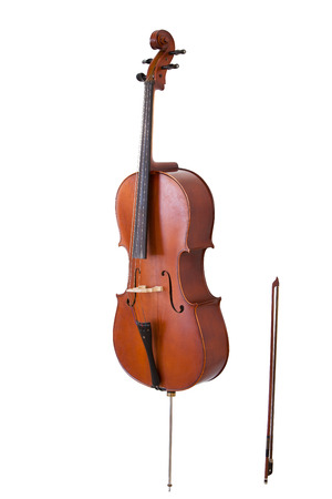 cello: classical musical instrument cello isolated on white background