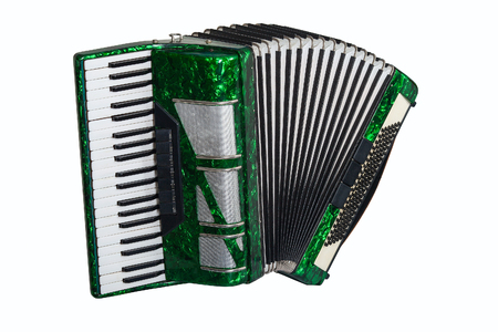 green accordion isolated on white background Stock Photo