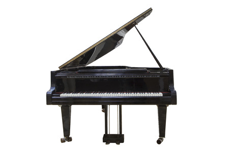 concert grand: black Grand piano isolated on white background Stock Photo