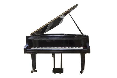 Piano de cola negro aislado en el fondo blanco