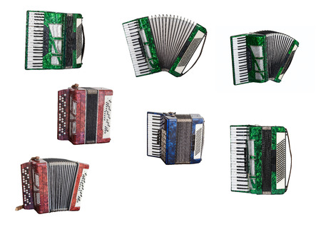 musical instruments accordion and Bayan isolated on white background