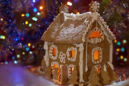 christmas house: gingerbread house on the Christmas tree