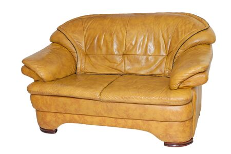 white sofa: yellow leather sofa isolated on white background